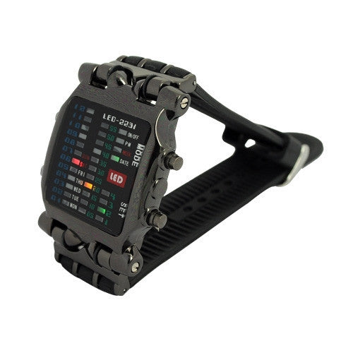 Cool 21 Colorful LED Digital Binary Wrist Watch men full steel watch