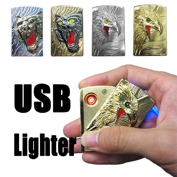 Cool Gadget USB Electronic Cigarette Lighters & Smoking Accessories Flameless No Oil Windproof Rechargeable Eagle Gift For Man