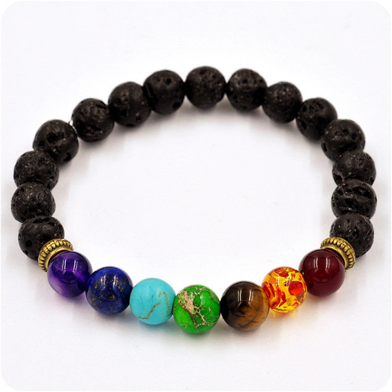 Cool Man Lava Rock Beaded Stretch Bracelets Mala Energy Bracelet Fashion Jewelry Best Gift
