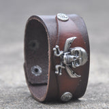 Punk Bracelet Cool Pirate Bracelet Leather Bracelets Genuine Leather Jewelry Men Bracelet
