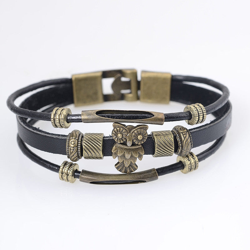 Cool Punk Hologram Men's Owl Bracelet with Charms Vintage Bronze Genuine Leather Male Bracelet for Women Men Wristband Jewelry