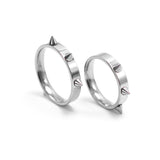 Cool Men Women's Punk Style Silver Tone Stainless Steel Rings Spiked Cone Rivet Rings Self-defense Rings Gift