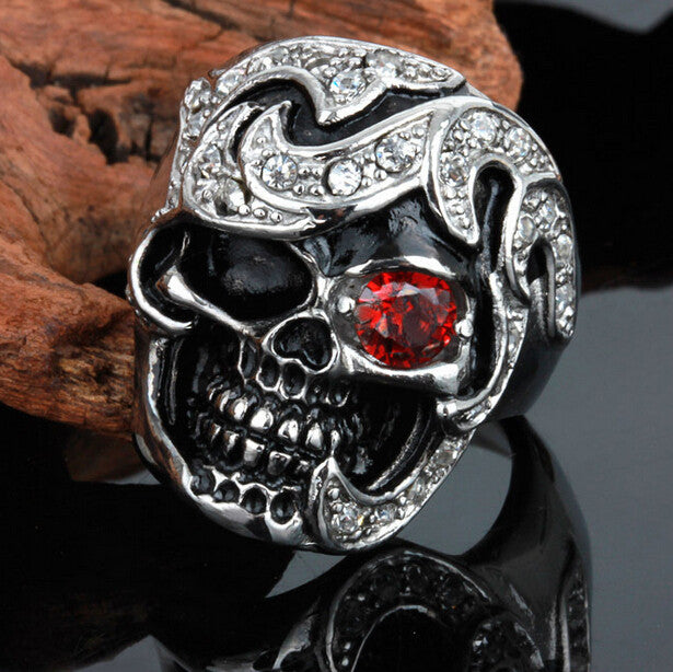 Cool Personality Skull Ring With Red CZ Eye Stainless Steel Punk Exaggerated Mens Rings For Men Vintage Best Friends Jewelry