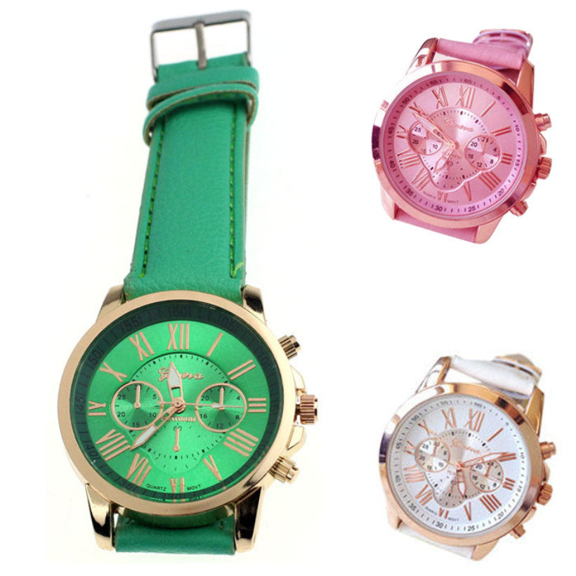 Creative Elegant New Watch Women Fashion Roman Numerals Faux Leather Analog Wrist Watches Quartz Watch relogio feminino
