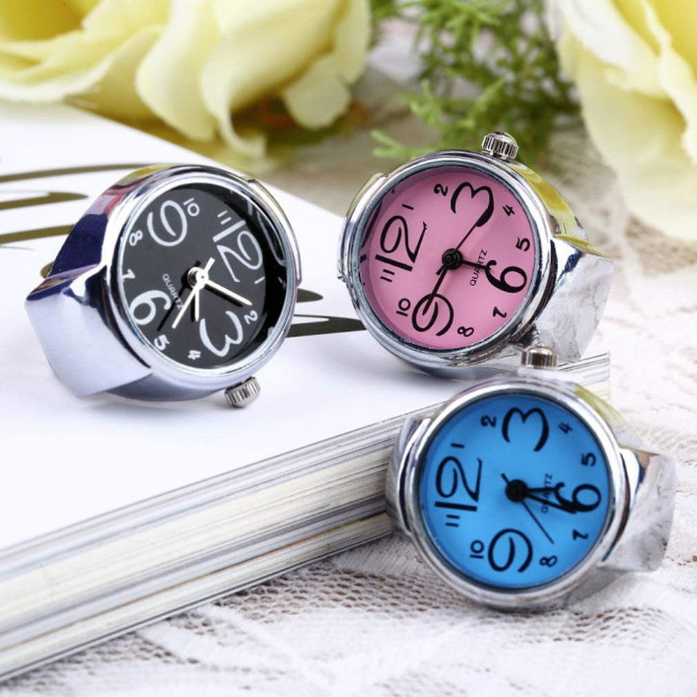 Creative Fashion Lady Girl Steel Round Elastic Quartz Finger Ring watch