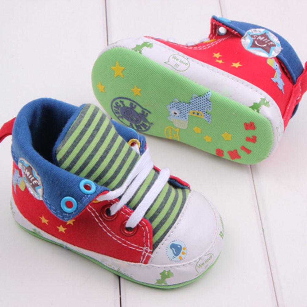 Cute Cartoon Printed Baby Kids High Shoes Casual Anti-Slip Toddler Walk Sneaker