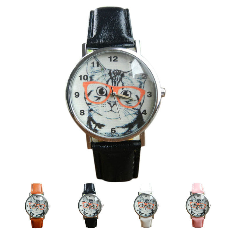 Cute Cat Pattern Watch Women Girl Leather Band Analog Quartz WristWatch