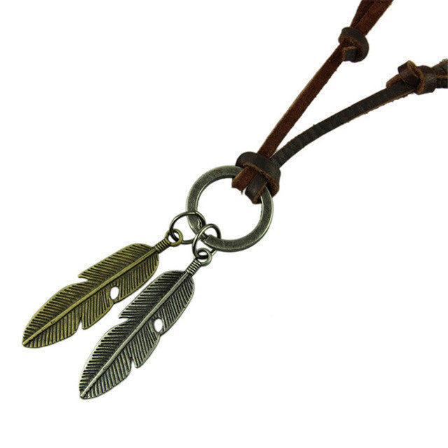 Delicate Jewelry Necklace Cow Leather Men Necklace Punk Retro Two Colors Leaf Pendants Necklace Chain