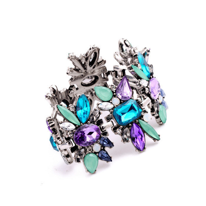 Delicate Sparkly Multicolor Created Crystal Flowers Women Bracelet Fashion Jewelry