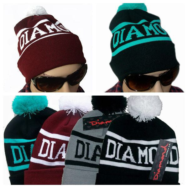 Diamond Supply Co Beanie Hat Popular Skullies Beanies Men And Women Winter Knit Letter Cap 4 Colors Gorras