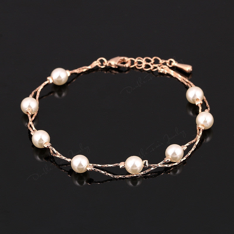 Double Fair Charm Bracelets & Bangles Platinum/Rose Gold Plated Fashion Simulated Pearl Beads Wedding Jewelry For Women
