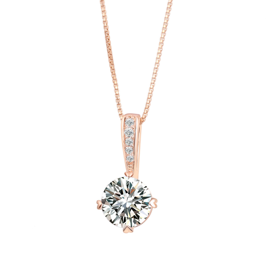 Double Fair OL AAA+CZ Diamond Chain Necklaces & Pendants Rose Gold Plated Fashion Crystal Party/Wedding Jewelry For Women