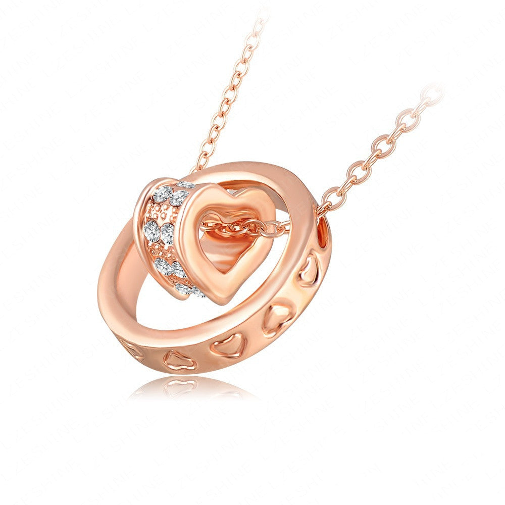 Double Necklaces & Pendants 18K Rose Gold/Platinum Plated Austrian Crystal Circle Heart Necklace