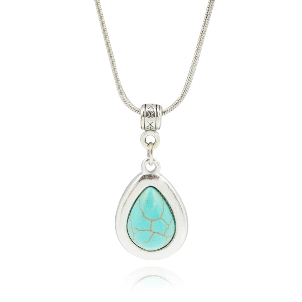 Drop shape Turquoise Pendant Necklace Women Choker Collares Necklaces & Pendants Summer Jewelry Vintage Silver Color