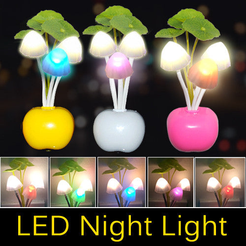 EU US Plug Electric Induction Dream Mushroom Fungus Lamp 3 LEDs Nightlight bulb home decor LED RGB breathing Night lights