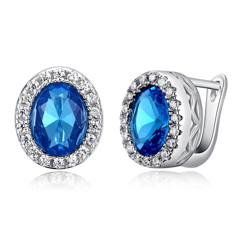Fashion Platinum Plated Earring Stud with 3 ct Oval Cut Blue Zircon & Micro Paved Clear Zircon Women Earrings