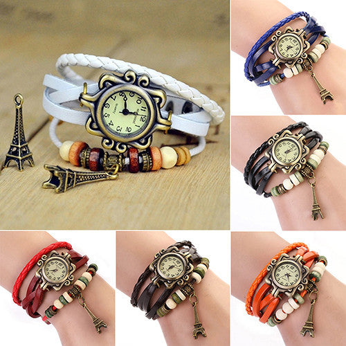 Eiffel Tower Ladies Watches Hot Vintage Women's Quartz Leather Bracelet Wrist Watch