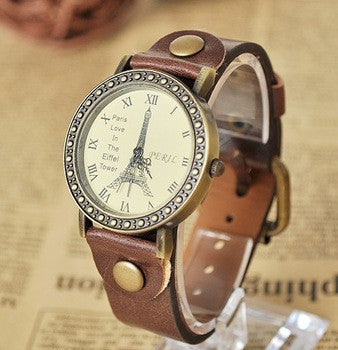 Eiffel Tower Surface Fashion Vintage Women Quartz Leather Strap 6 Colors Wristwatch High Quality Dress Watches