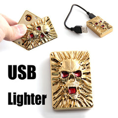 Electronic Skull Lighter USB Lighters & Smoking Accessories No Flame Windproof Rechargeable Fun Gadget Gifts For Man