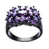 Elegant Purple Black Gold Filled CZ Ring Unique Design Vintage Party Wedding Rings For Women Christmas Fashion Jewelry