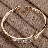Elegant Rose Gold Angle Wing Carve Crystal Chain Link Bangle Bracelet Women Gift
