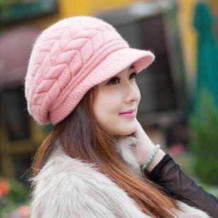 Elegant Women Hat Winter & Fall Beanies Knitted Hats For Woman Rabbit Fur Cap Autumn Ladies Female Fashion Skullies
