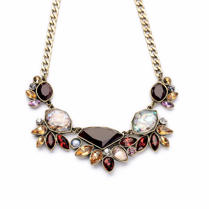 Elegant Gold Color Chain Rhinestone Necklace Women Fashion Shourouk Statement Necklaces Pendants