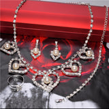 Elegant Pearl Shining Crystal 18K Silver Plated Austrian Crystal Bridal/Wedding Jewelry Sets For Women