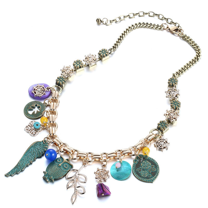 Ethnic Vintage Statement Charms Necklace Women Antique-Green Alloy Wings & Owl & Shell Pendants Brand Jewelry