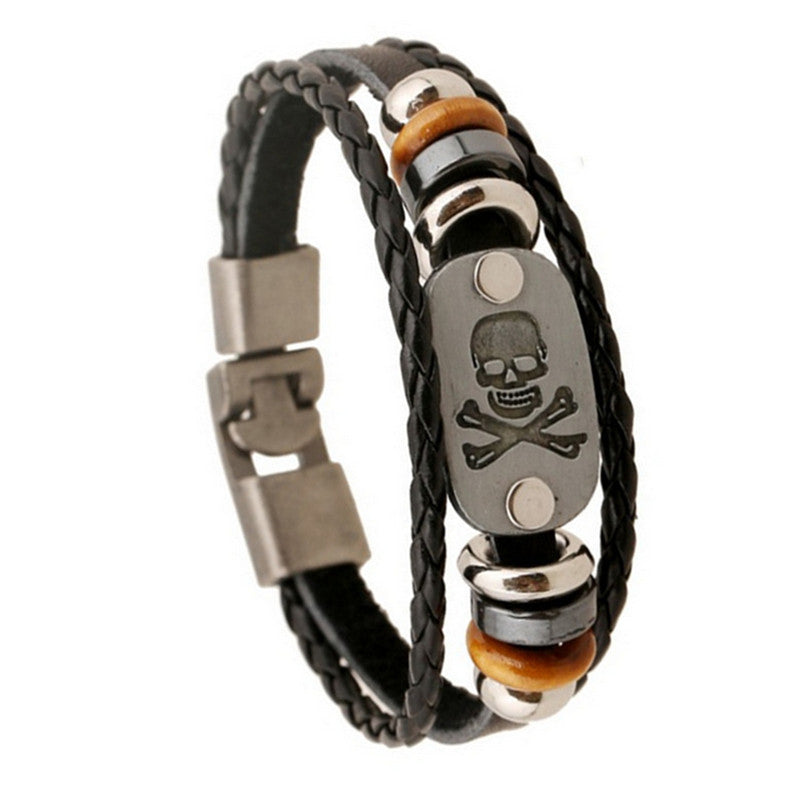 European And American Export Trade Jewelry Skull Leather Bracelet & Bangles For Man Popular Wristband Jewelry