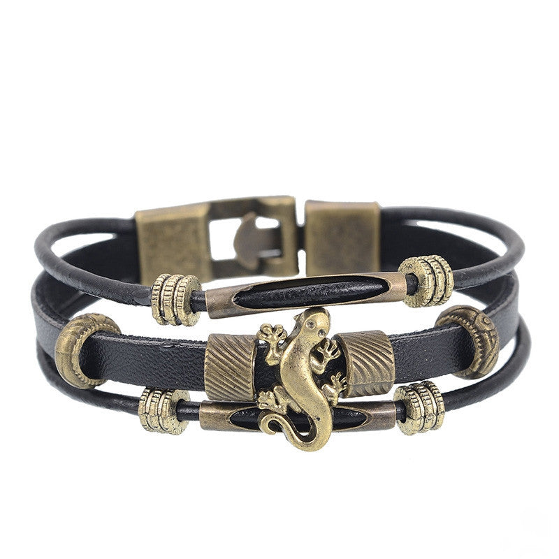 European Men Jewelry Handmade Multilayer Genuine leather Bracelet Vintage Lizard Strand Wrap Charm Bracelets Wristband for Women