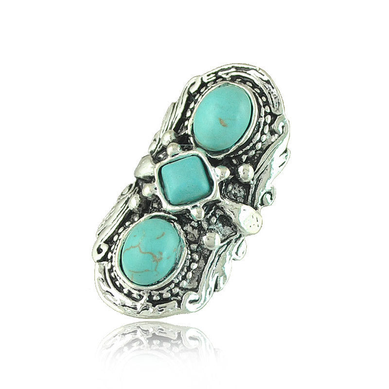 European Punk Style 3 in 1 Turquoise Rings Vintage Silver Statement Rings