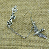 European and American fashion Vintage metal Swallow punk arrow ear cuff gothic clip earrings for women