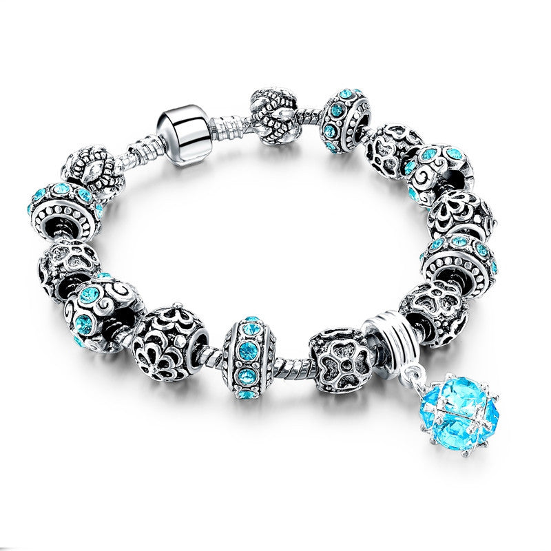 European Style Authentic Tibetan Silver Blue Crystal Charm Bracelets for Women Original DIY Jewelry Christmas Gift