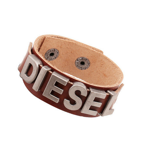 European Style Men Wrap Bracelets Brand Cowhide Leather Wide Male Bangle Bracelet Vintage Letter Jewelry