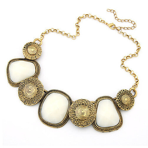 European and American fashion personality temperament wild geometric squares resin exaggeration Chain Bib Statement necklace