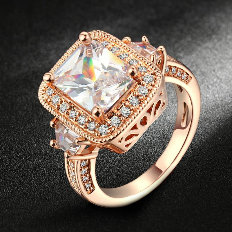 Exaggerated Luxury CZ Stone Engagement Ring Silver/Rose Gold Plated Cubic Zirconia Wedding Jewelry For Men and Women Anel