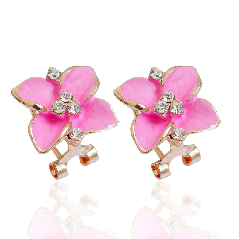 Fashion Gold Plated Flower Crystal Stud Earrings Flower Rhinestone Earrings for Women