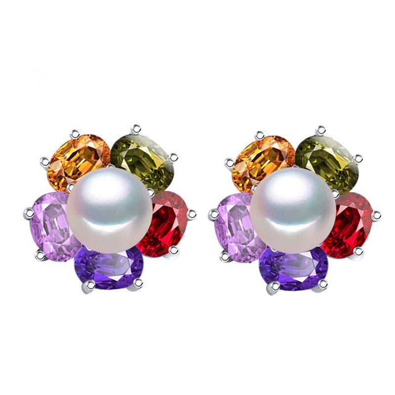 Sapphire jewelry Pearl earrings, Pearl with 925 Sterling Silver earrings,Multicolored gems charms earrings ruby jewelry