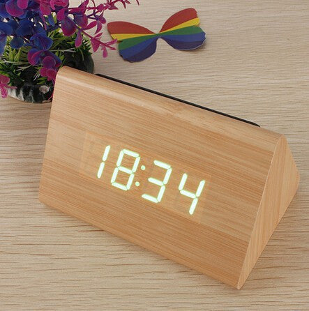 Bamboo Wood Triangular Green LED Alarm Digital Desk Clock Wooden Thermometer
