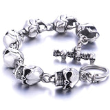 Men Bracelet New 316L Stainless Steel 7 Skulls Gothic Punk Men Bracelet For Boyfriend & Girlfriend Jewelry Gift