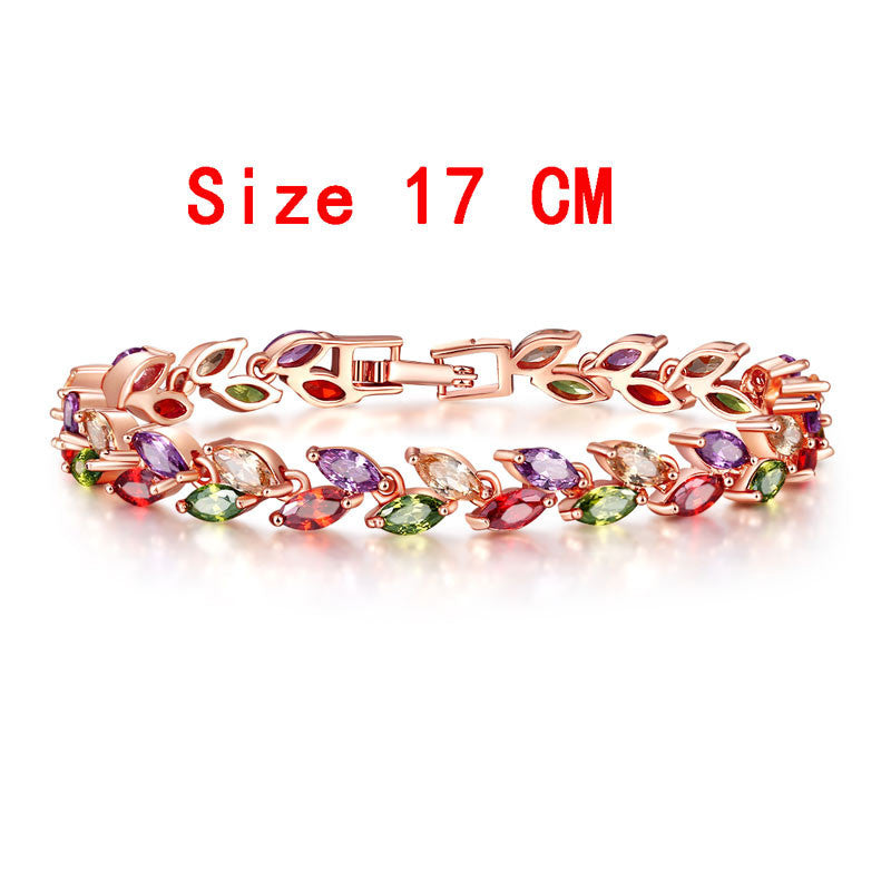 Colorful Cubic Zirconia Bracelet for Women Rose Gold Plated Snake Chain Jewelry Bracelets Luxury Engagement Jewelry