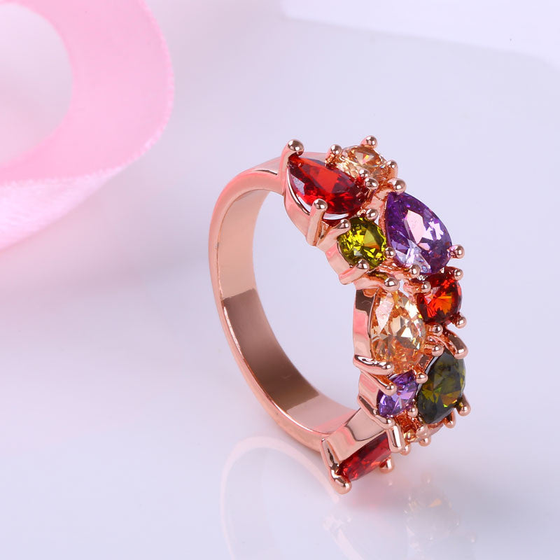 Colorful Jewelry Sets Cubic Zircon Hypoallergenic Rose Gold Plated