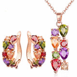 Rose Gold Plated Jewelry Sets with Earring/Necklace Multicolor AAA Zircon Stone Women Engagement Wedding Jewelry Set