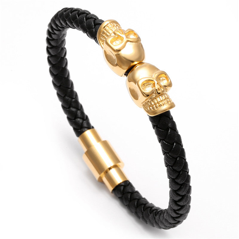 Black Genuine Leather Double Skeleton Skull Charm Bracelet For Men Gift Magnet Punk Rock Jewelry