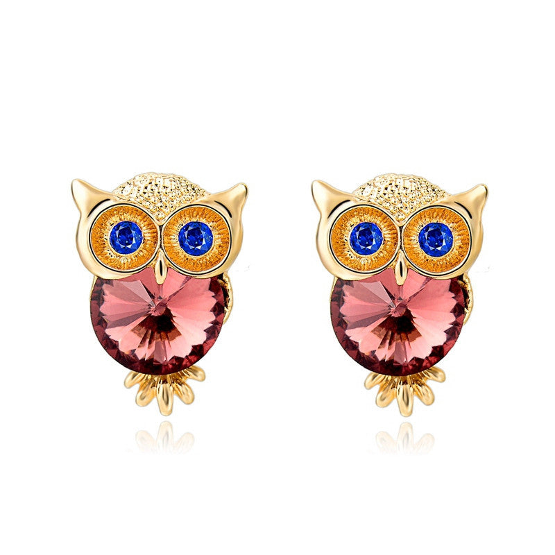 Famous Brand Jewelry Crystal Owl Stud Earrings For Women Vintage Gold Plated Animal Statement Earrings