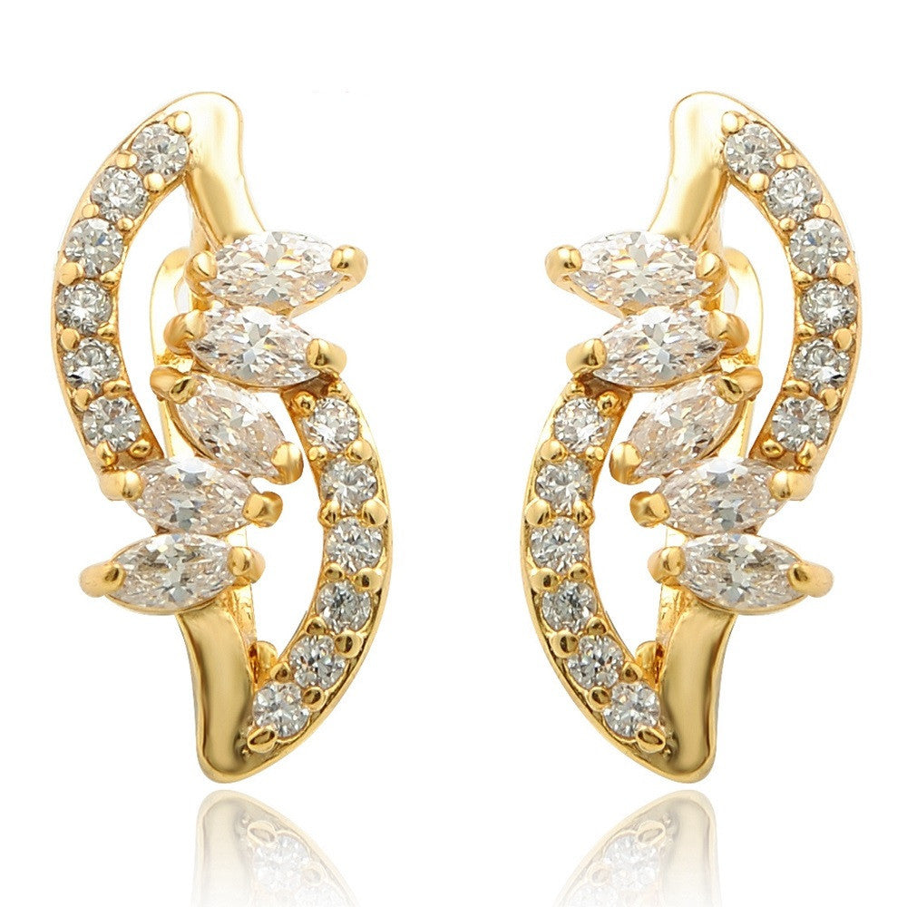 Elegant Fashion Brand Jewelry Gold Plated White Cubic Zircon Glittering Hoop Earrings for Women with Gift