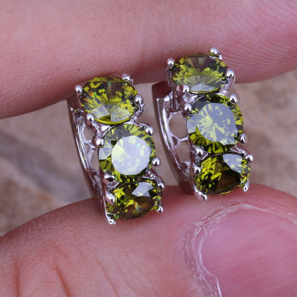 Fantastic Green Peridot 925 Sterling Silver Huggie Hoop Earrings For Women