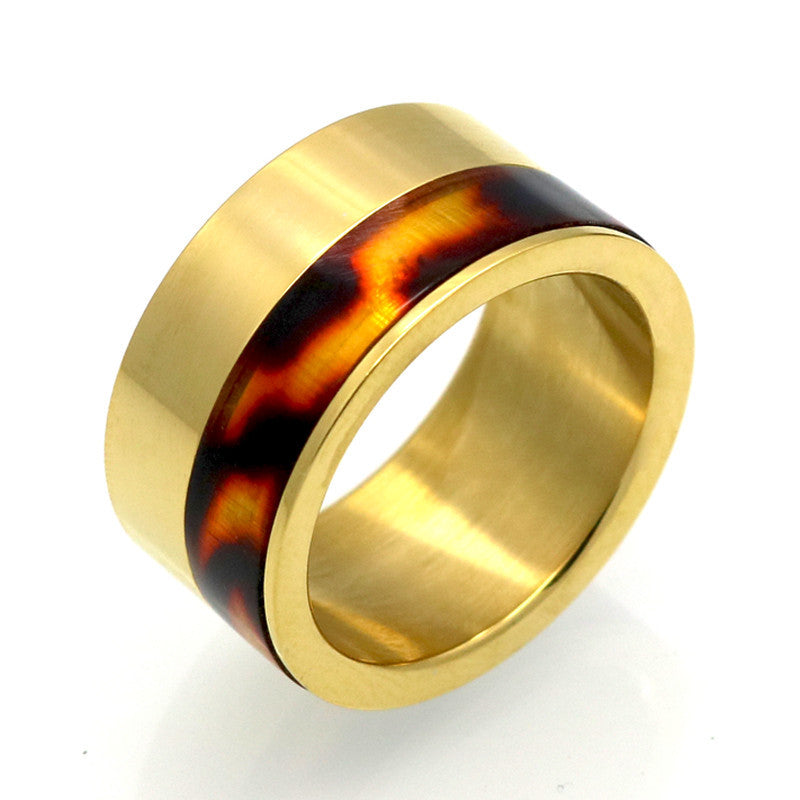 Fashion 11mm Width Enamel Leopard Print Ring For Women 18K Gold Plated Lover's 316L Stainless Steel Jewelry Wedding Band Ring