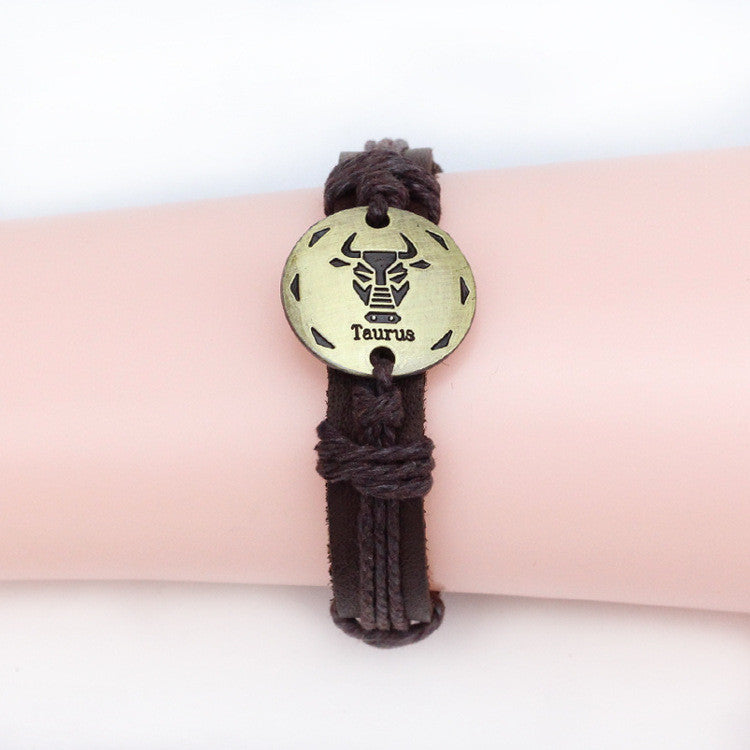 Fashion Zodiac Signs Leather Bracelet Constellations charm Bracelets Adjustable Bracelet Jewelry